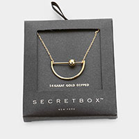 Secret Box _ 14K Gold Dipped Metal Half Circle Pendant Necklace