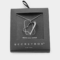 Secret Box _  White Gold Dipped Metal Double Heart Pendant Necklace