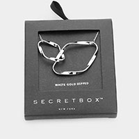 Secret Box _ 14K White Gold Dipped Metal Abstract Pendant Necklace