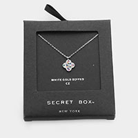 Secret Box _ 14K White Gold Dipped Colorful CZ Flower  Necklace