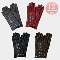 12PCS - PU Leather Round Studs Gloves
