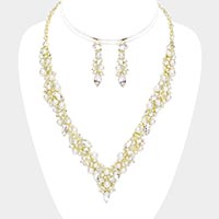 Pearl Marquise Crystal Rhinestone V-Shape Necklace