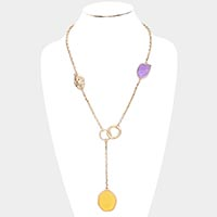 Multi Color Acrylic Open Circle Metal Long Necklace