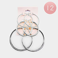 12 Set of 3 - Metal Hoop Earrings