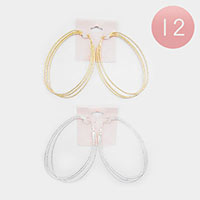 12PCS - Textured Metal Hoop Earrings