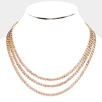 3 Row Snake Chain Metal Collar Bib Necklace