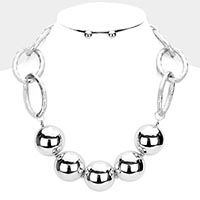 Metal Ball Open Circle Link Necklace