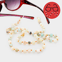Semi Precious Natural Ball Bead Glasses Chain