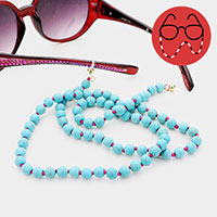 Turquoise Semi Precious Ball Bead Glasses Chain