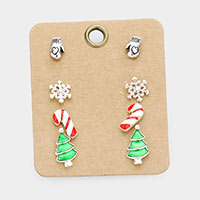4Pairs - Christmas Holiday Stud Earrings