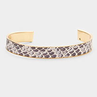 Snake Pattern Faux Leather Cuff Bracelet