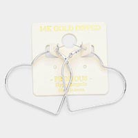 14K Gold Dipped Heart Metal Hoop Earrings