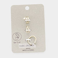 3PCS - Brass Metal Cubic Zirconia Ear Cuffs