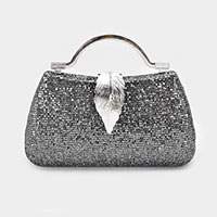 Crystal Leaf Embellished Evening  Clutch / Handbag