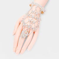 Rhinestone Crystal Statement Hand Chain Evening Bracelet