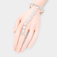 Rhinestone Crystal Floral Hand Chain Evening Bracelet