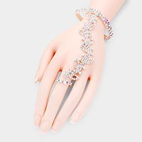 Rhinestone Crystal Leaf Hand Chain Evening Bracelet