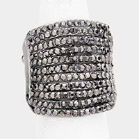 Rhinestone Pave Multi Row Stretch Ring