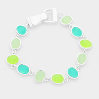 Colorful Sea Glass Magnetic Bracelet