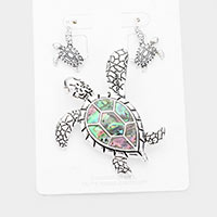 Abalone Turtle Magnetic Pendant Set