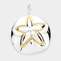 Embossed Starfish Metal Pin Brooch / Pendant