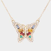 Crystal Rhinestone Pave Butterfly Pendant Necklace