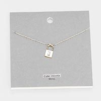 Brass Metal Cubic Zirconia Lock Pendant Necklace