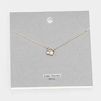 Brass Metal Cubic Zirconia Double Star Pendant Necklace