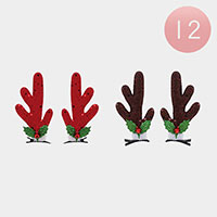 12PCS - Rudolph Snap Alligator Hair Clips