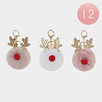 12PCS - Christmas Rudolph Pom Pom Key Chains