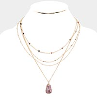 Natural Stone Drop Layered Collar Necklace