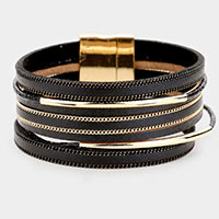 Multi Layered Faux Leather Magnetic Bracelet