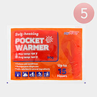 5PCS - Up to 15 Hours Self Heating Pocket Warmers