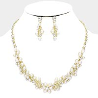 Pearl Floral Vine Collar Necklace
