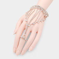 Crystal Rhinestone Fringe Statement Hand Chain Evening Bracelet