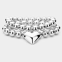 2PCS - Heart Charm Metal Ball Stretch Layered Bracelet