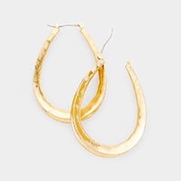Burnished Metal Pin Catch Hoop Earrings