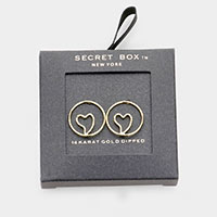 Secret Box _ 14K Gold Dipped Open Circle Heart Earrings