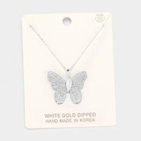 White Gold Dipped Textured Butterfly Pendant Necklace