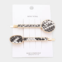 2PCS - Snake Faux Leather Bobby Pins