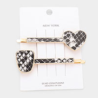 2PCS - Heart Snake Faux Leather Bobby Pins