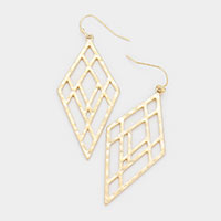 Cut Out Rhombus Hammered Metal Earrings