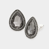 Teardrop Crystal Rhinestone Pave Clip On Earrings