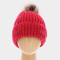 Faux Fur Pom Pom Cuffed Single Layered Beanie Hat