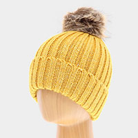 Soft Knit Faux Pom Pom Beanie Hat