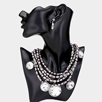 Fresh Water Pearl Glass Crystal Bib Necklace