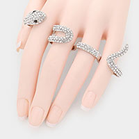 Crystal Pave Snake 4-fingers Ring