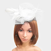 Mesh Flower Feather Net Fascinator
