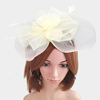 Rose Flower Feather Mesh Net Dual Fascinator / Headband