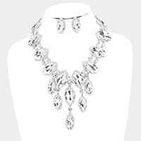 Marquise Crystal Statement Evening Necklace